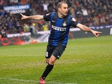 Inter's Rodrigo Palacio celebrates after scoring the equaliser against Juventus on March 30, 2013