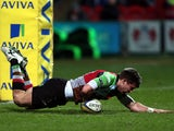 Harlequins' Sam Smith scores his team's second try against Gloucester on March 29, 2013