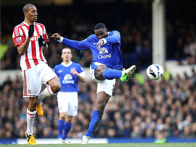 Victor Anichebe has a shot on goal against Stoke on March 30, 2013