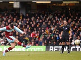 Burnley's Charlie Austin scores his second goal in the Championship match against Watford on March 29, 2013