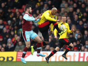 Watford's Fitz Hall wins the ball during the Championship match against Burnley on March 29, 2013