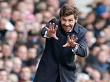 Spurs boss Andre Villas-Boas on the touchline during the match against Everton on April 7, 2013