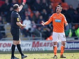 Blackpool's Barry Ferguson is sent off in the game with Crystal Palace on April 1, 2013