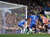 Cesar Azpilicueta scores an own goal to give Sunderland the lead on April 7, 2013