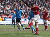 Charlton Athletic's Johnnie Jackson scores against Leeds United on April 6, 2013