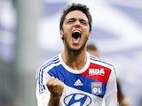 Lyon's Clement Grenier celebrates scoring on September 1, 2012