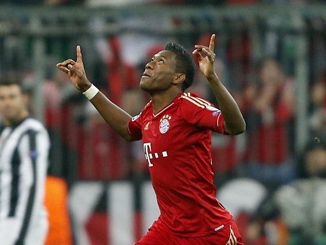 Bayern's David Alaba celebrates after scoring the opening goal against Juventus on April 2, 2013