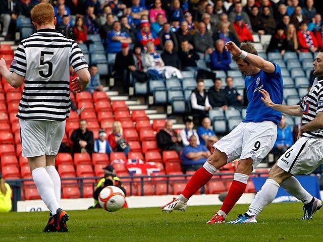 Ranger's David Templeton scores the opening goal against Queen's Park on April 7, 2013
