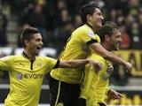 Dortmund's Julian Schieber celebrates scoring against Augsburg on April 6, 2013