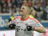 Bayern Munich player Bastian Schweinsteiger celebrates after scoring against Eintracht Frankfurt on April 6, 2013