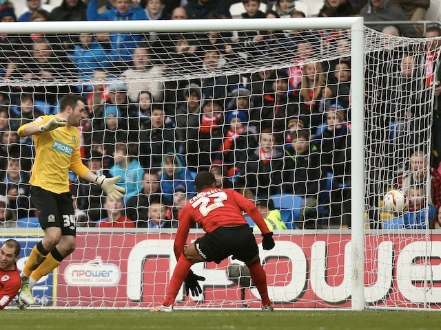 Cardiff forward Frazier Campbell celebrates his goal against Blackburn on April 1, 2013