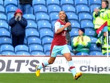 Burnley's Junior Stanislas celebrates a goal against Nottingham Forest on April 1, 2013