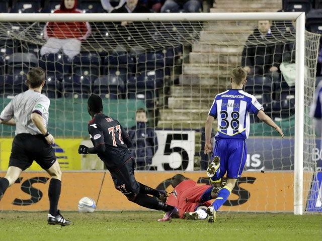 St Mirren's Esmael Goncalves scores during the SPL match against Kilmarnock on April 3, 2013