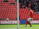 Crewe's Max Clayton scores his team's second in the Johnstone's Paint Trophy final against Southend on April 7, 2013