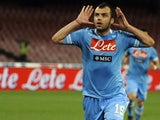 Napoli forward Goran Pandev celebrates scoring against Genoa on April 7, 2013