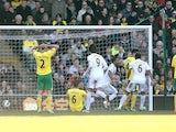 Swansea City's Luke Moore celebrates after scoring against Norwich on April 6, 2013