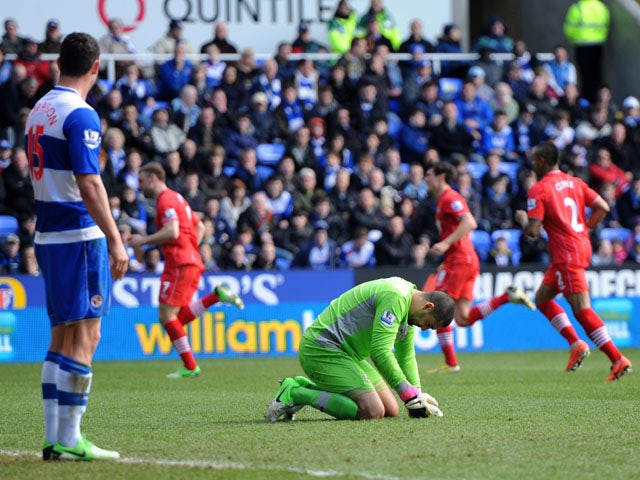 Reading's Adam Federici reacts after conceding a goal to Southampton during the Premier League match on April 6, 2013