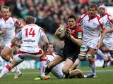 Saracens Joel Tomkins evades a tackle during the Heineken Cup match with Ulster on April 6, 2013