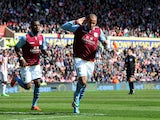 Aston Villa's Gabriel Agbonlahor celebrates scoring against Stoke on April 6, 2013