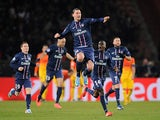 Paris Saint-Germain's Zlatan Ibrahimovic celebrates after scoring the equaliser against Barcelona on April 2, 2013