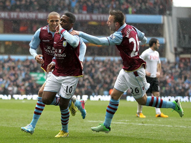 Aston Villa's Charles N'Zogbia celebrates after scoring the first goal in the Premier League match with Fulham on April 13, 2013