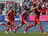 Bayern Munich's Jerome Boateng celebrates scoring against FC Nuremberg on April 13, 2013