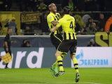 Dortmund's Felipe Santana celebrates scoring the winning goal in his side's match against Malaga on April 9, 2013