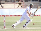 Zimbabwean batsman Craig Ervine plays a shot on the second day of the test match against Pakistan on September 2, 2011