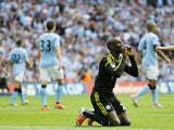 Chelsea's Demba Ba celebrates his goal against City on April 14, 2013
