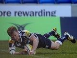 Sale Sharks' Dwayne Peel goes over for a try against Gloucester on March 12, 2013