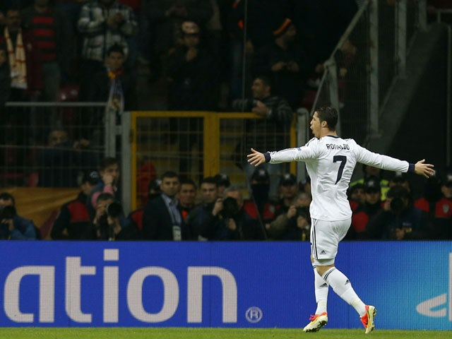 Real Madrid's Cristiano Ronaldo celebrates after scoring against Galatasaray on April 9, 2013