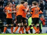 Dundee Utd's Gary MacKay-Steven celebrates a goal against Celtic in the Scottish Cup semi-final on April 14, 2013