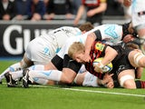 Saracens' Jackson Wray dives to score a try against Worcester Warriors on April 14, 2013