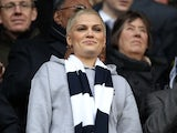 Popstar Jessie J watches the game between Spurs and Everton on April 7, 2013