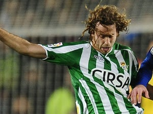 Betis' Jose Canas in action against Barcelona on January 15, 2012