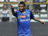 Udinese's Luis Fernando Muriel celebrates a goal against Parma on April 14, 2013