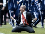 Sunderland boss Paulo Di Canio celebrates a goal by Adam Johnson against Newcastle on April 14, 2013