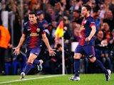 Barcelona's Pedro celebrates after scoring the equaliser against Paris Saint-Germain on April 10, 2013