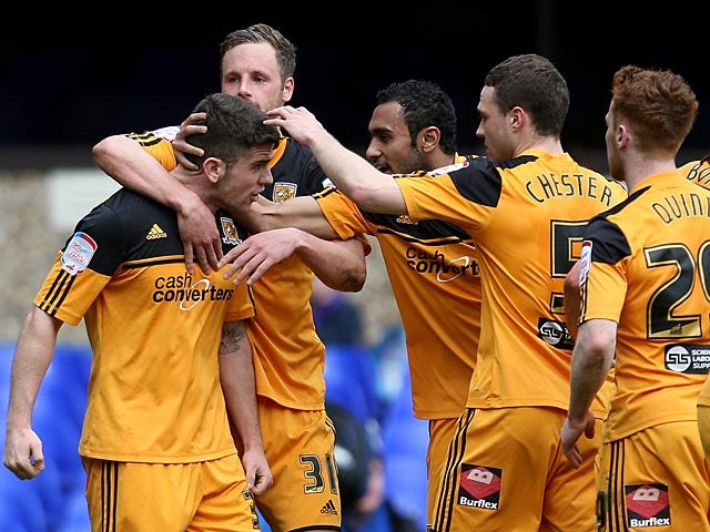 Hull's Robbie Brady is congratulated by teammates after scoring the opener against Ipswich on April 13, 2013