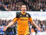 Hull's Robert Koren celebrates scoring his team's second goal in the match against Ipswich on April 13, 2013