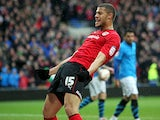 Cardiff's Rudy Gestede celebrates scoring his team's second goal in the match against Nottingham Forest on April 13, 2013