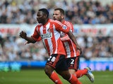 Sunderland's Stephane Sessegnon celebrates a goal against Newcastle on April 14, 2013