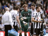Newcastle 'keeper Tim Krul injures an arm in the game with Sunderland on April 14, 2013