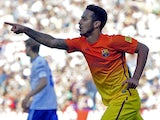 FC Barcelona's Thiago celebrates after scoring against Zaragoza on April 14, 2013
