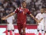 Panama's Blas Perez celebrates after scoring during a 2014 World Cup qualifying match against Honduras on June 8, 2012