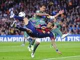 Barca defender Dani Alves duels for the ball against Levante on April 20, 2013