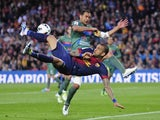 Barca defender Dani Alves duels for the ball against Levante on April 20, 2013