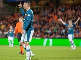 Motherwell's Michael Higdon celebrates after scoring the third goal against Dundee United on April 19, 2013