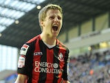 AFC Bournemouth's Eunan O'Kane celebrates scoring against Wigan on January 5, 2013