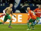 Fuerth's Nikola Durdic celebrates scoring against Schalke on February 2, 2013